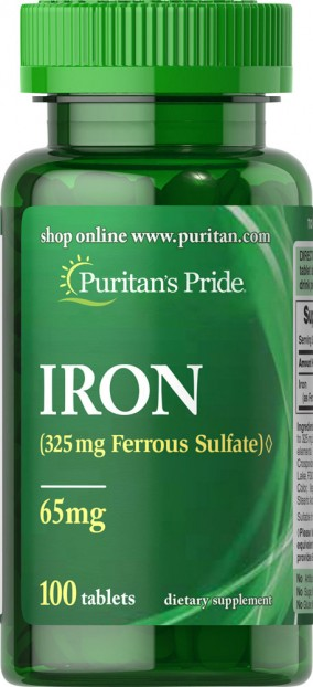 Iron Ferrous Sulfate 65 mg 100 Tablets EXP 10-2021