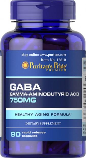GABA (Gamma Aminobutyric Acid) 750 mg 90 Capsules