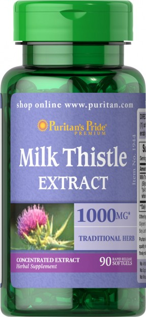 Milk Thistle Silymarin 4:1 Extract 1000 mg 90 softgels