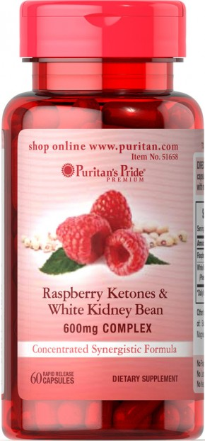 Raspberry Ketones and White Kidney Bean 600mg Complex 60 Capsules