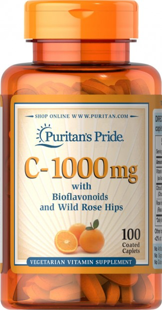 Vitamin C-1000 mg with Bioflavonoids & Rose Hips 100 Caplets