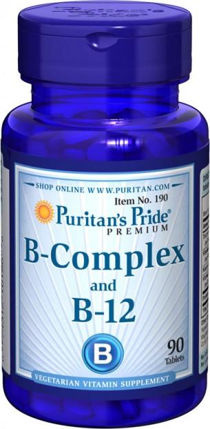 Vitamin B-Complex and Vitamin B-12 90 Tablets