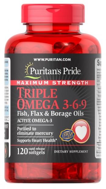 Maximum Strength Triple Omega 3-6-9 Fish, Flax & Borage Oils 120 softgels
