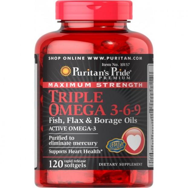 Maximum Strength Triple Omega 3-6-9 Fish, Flax & Borage Oils 120 softgels EXP 30-11-2021