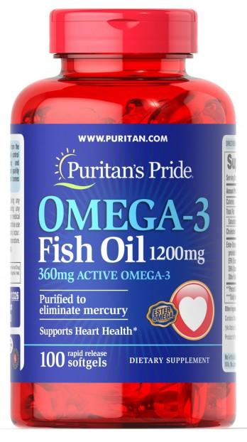 Omega-3 Fish Oil 1200 mg (360 mg Active Omega-3) 100 Softgels