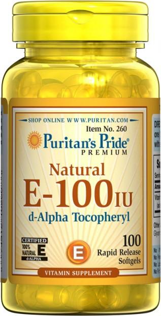 Vitamin E-100 iu 100% Natural  100 Softgels