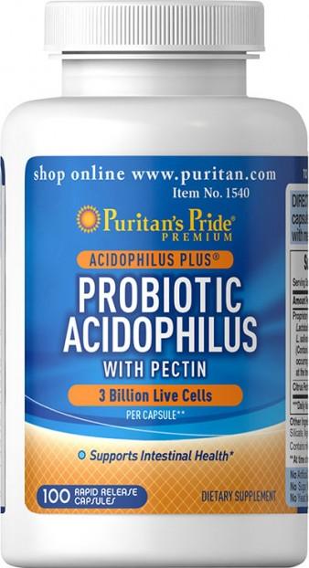 Probiotic Acidophilus with Pectin 3 billion 100 Capsules EXP 3-2022