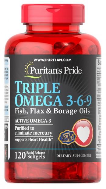 Triple Omega 3-6-9 Fish, Flax & Borage Oils 120 Softgels