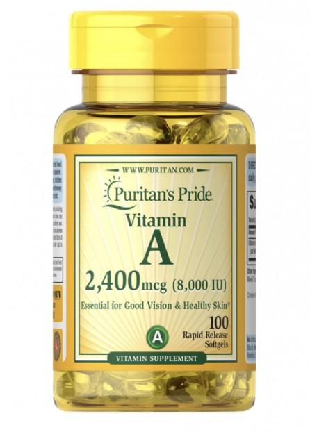 Vitamin A 8,000 IU ( 2,400 mcg ) 100 softgels