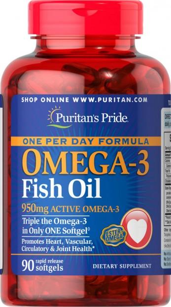 One Per Day Omega-3 Fish Oil 1360 mg (950 mg Active Omega-3) 90 Softgels