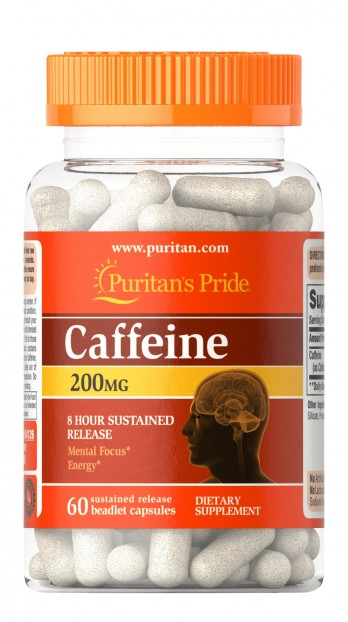 Caffeine 200 mg 8-Hour Sustained Release  60 Capsules