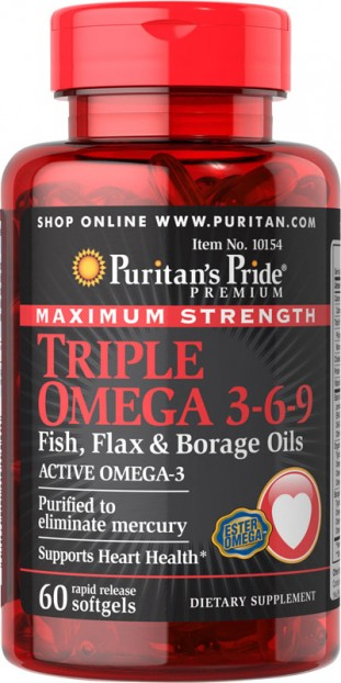 Maximum Strength Triple Omega 3-6-9 Fish, Flax & Borage Oils 60 softgel