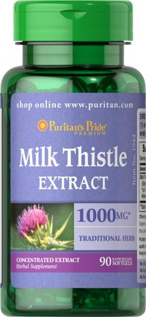 Milk Thistle Silymarin 4:1 Extract 1000 mg 90 softgels