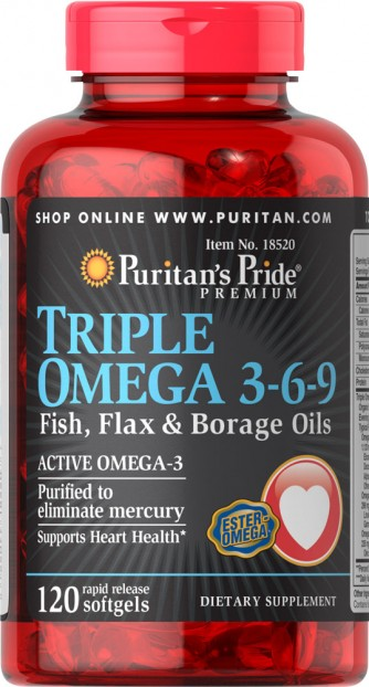 Triple Omega 3-6-9 Fish, Flax & Borage Oils 120 Softgels