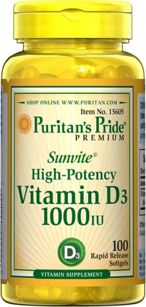 Vitamin D3 1000 IU  100 Softgels