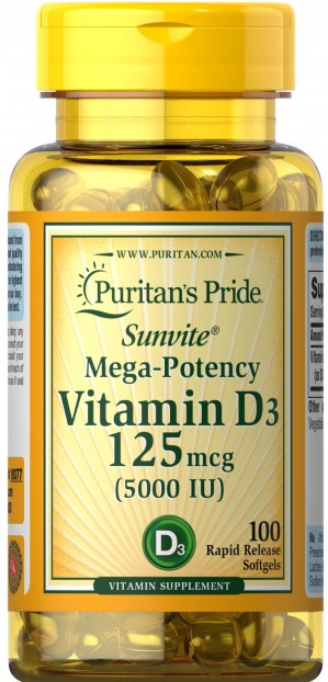 Vitamin D3 5000 IU  100 Softgels
