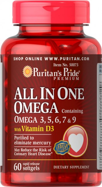 ALL IN ONE OMEGA 3,5,6,7,9 + VITAMIN D3 60 softgels