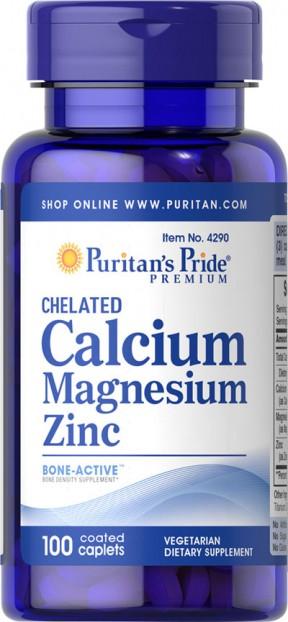 Chelated Calcium Magnesium Zinc 1000 mg 400 mg 25 mg  100 Caplets