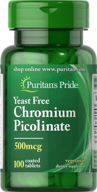Chromium Picolinate 500 mcg Yeast Free  100 Tablets