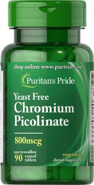 Chromium Picolinate 800 mcg Yeast Free 90 Tablets