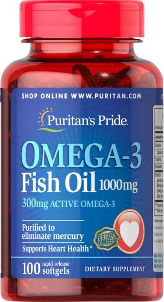 Omega-3 Fish Oil 1000 mg (300 mg Active Omega-3)  100 Softgels