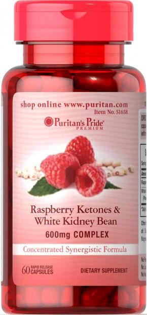 Raspberry Ketones and White Kidney Bean 600mg Complex 60 Capsules