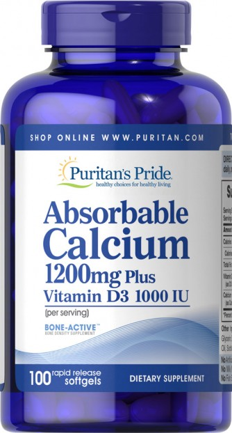 Absorbable Calcium 1200 mg with Vitamin D 1000 IU 100 caplets