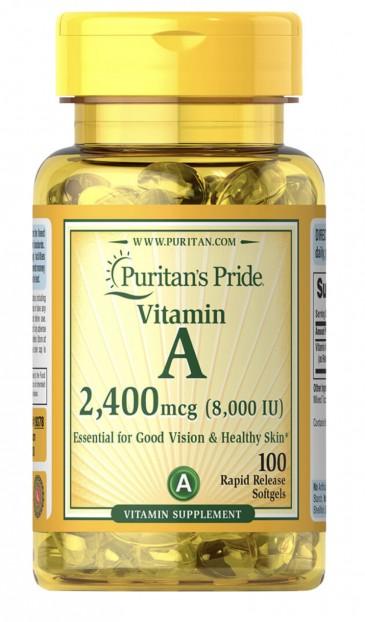 Vitamin A 8,000 IU (2,400mcg) 100 Rapid Release Softgels